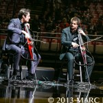 "The 2Cellos performing on Elton John's ""The Diving Board Tour at Joe Louis Arena in Detroit, MI on November 29th 2013 photo by Marc Nader"