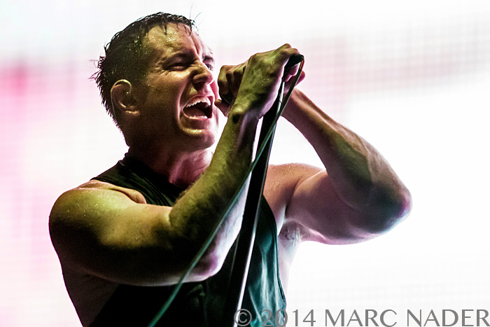 Nine Inch Nails performing on the 2014 North American Tour with Soundgarden at DTE Energy Music Theatre in Clarkston Mi on July 26th 2014 Photo by Marc Nader