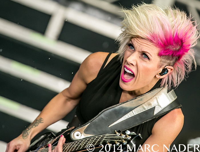 Skillet performing on the 2014 Rockstar Energy Drink Uproar Festival at DTE Energy Music Theatre in Clarkston Mi on August 15th 2014 Photo by Marc Nader