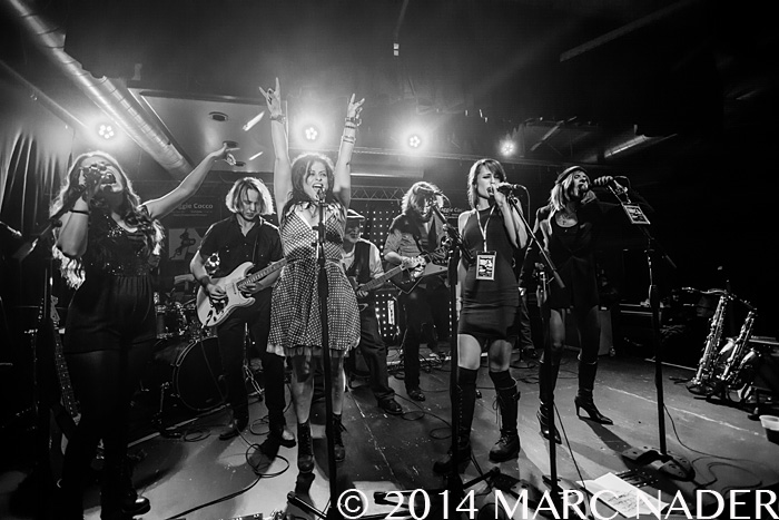 Maggie Cocco, Rio Scafone, Keri Lynn Roche and Carolyn Striho performing on the Women Who Rock Showcase at The Loving Touch in Ferndale Mi on December 13th 2014 Photo by Marc Nader