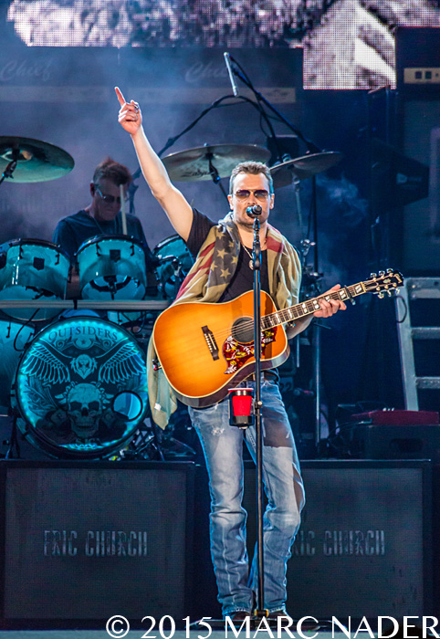 Eric Church performing on The Big Revival Tour at Ford Field in Detroit, MI on August 22nd 2015 Photo by Marc Nader