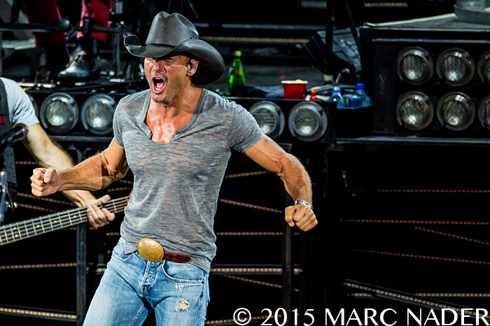 Tim McGraw performing on the Shot Gun Rider Tour at DTE Energy Music Theatre in Clarkston Mi on August 2nd 2015 Photo by Marc Nader