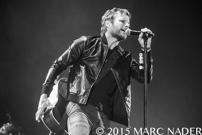 Dierks Bentley performing on Luke Bryan's  Kick The Dust Up Tour at Ford Field in Detroit, MI on October 30th 2015 Photo by Marc Nader