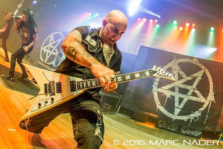 Anthrax performing on Lamb of God's 2016 U.S. Tour at The Royal Oak Music Theatre in Royal Oak, MI on January 28th 2016 Photo by Marc Nader