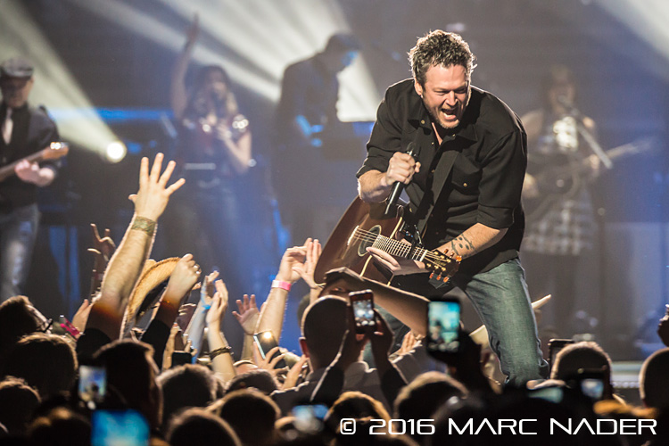 "Blake Shelton performing on his ""2016 Winter Tour"" at the Palace of Auburn Hills in Auburn Hills, MI on February 20th 2016 Photo by Marc Nader"