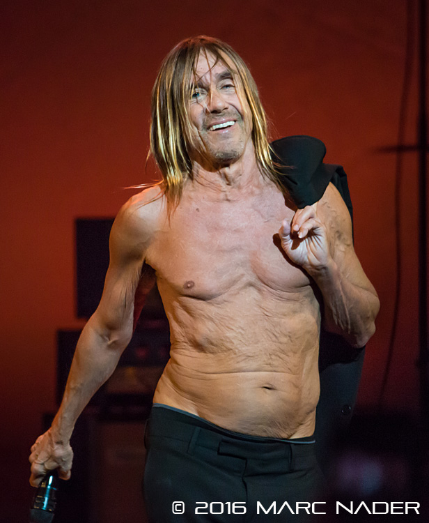 Iggy Pop performing on his Post Pop Depression Tour at The Fox Theatre in Detroit, MI on April 7th 2016 Photo by Marc Nader