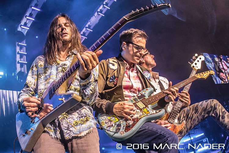 "Weezer performing on the ""Weezer & Panic! at the Disco Summer Tour"" at DTE Energy Music Theatre in Clarkston, MI on July 8th 2016 Photo by Marc Nader"
