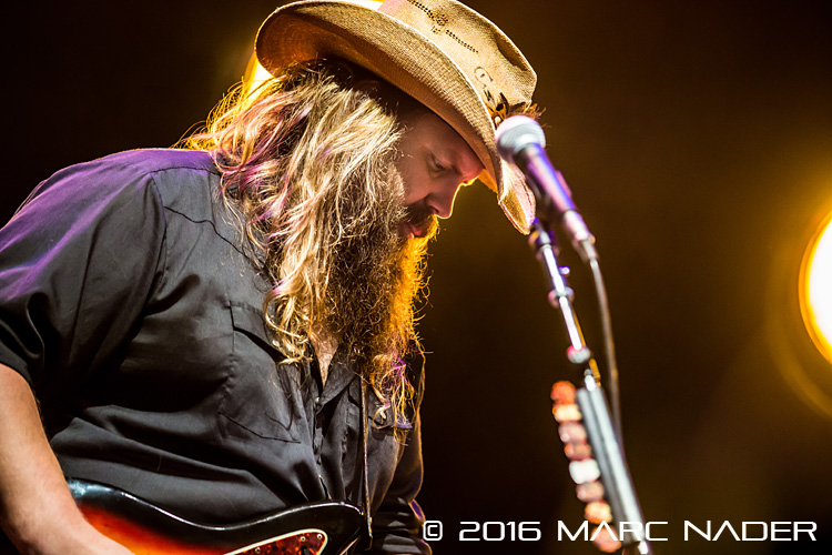 "Chris Stapleton performing on the co headline ""2016 Summer Tour"" with Hank Williams Jr at DTE Energy Music Theatre in Clarkston, MI on August 20th 2016 Photo by Marc Nader"