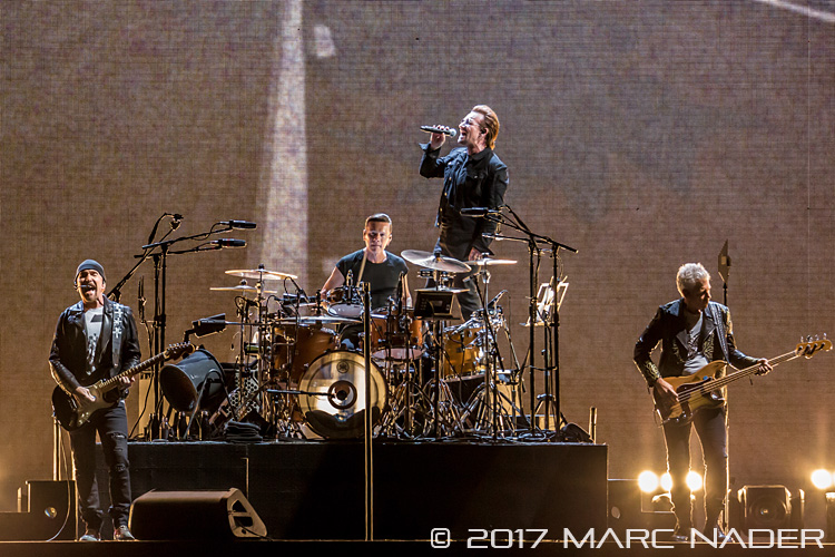 U2 performing on The Joshua Tree Tour at Ford Field in Detroit, MI on September 3rd 2017 Photo by Marc Nader